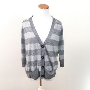 Joie Grey Striped Wool Cashmere Cardigan  Sz Large